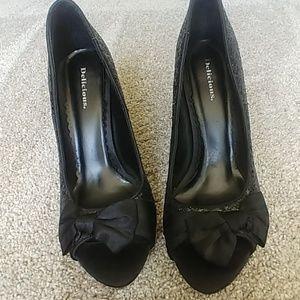 Black glitter peep toe heel